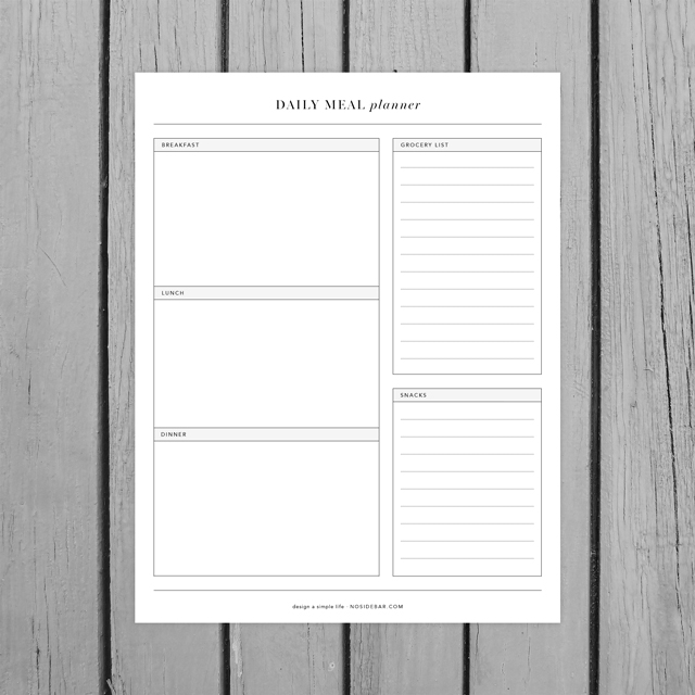 minimalist daily meal planner printable